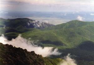 Вид на долину реки Баргузин с Баргузинского хребта