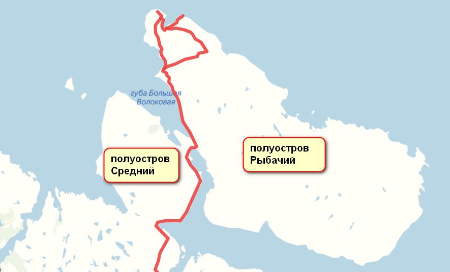 Маршрут по полуостровам Рыбачий и Средний