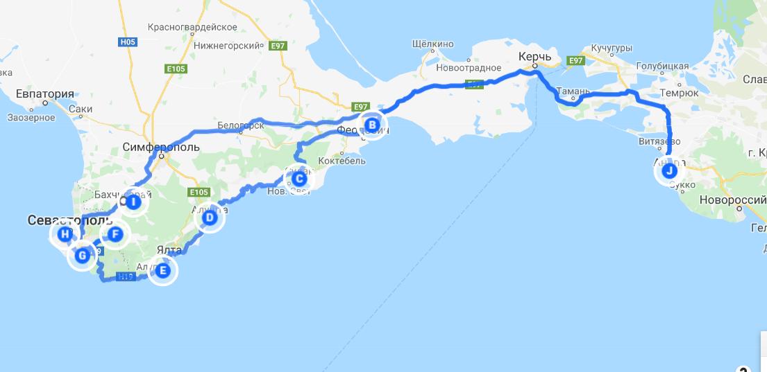 Маршрут по Крыму на автомобиле